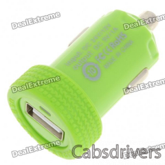 Car Cigarette Powered 1000mA USB Adapter/Charger - Green (DC 12V/24V) - 0