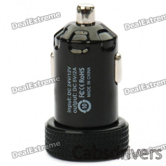 Universal 2000mA USB Car Charger Adapter for Digital Devices - Black (12~24V) - 0