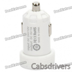 Universal 1000mA USB Car Charger Adapter for Digital Devices - White (12~24V) - 0
