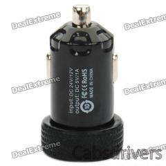 Universal 1000mA USB Car Charger Adapter for Digital Devices - Black (12~24V) - 0