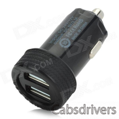 Dual USB Car Cigarette Powered Charger - Black (12~24V) - 0