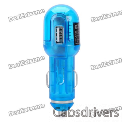 USB Car Charger with USB Data Cable + Charging Adapters for Sony Ericsson Phones - Blue - 0
