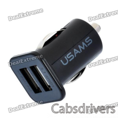 Car Cigarette Powered Dual USB Adapter/Charger for Iphone / Ipod / Ipad / Ipad 2 (DC 12~24V) - 0
