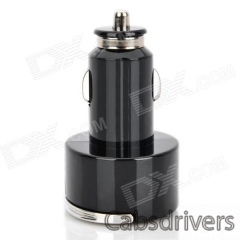 Car Cigarette Powered Dual USB Adapter / Charger for Ipad / Iphone - Black + Silver (DC 12~24V) - 0