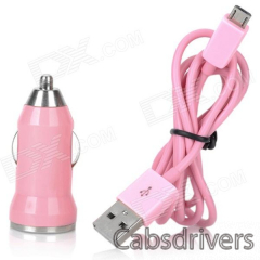 V8 Car Cigarette Powered Charging Adapter w/ USB Cable for HTC / Samsung / Motorola - Pink - 0