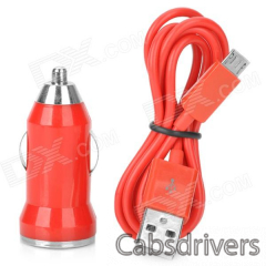 V8 Car Cigarette Powered Charging Adapter w/ USB Cable for HTC / Samsung / Motorola - Red - 0