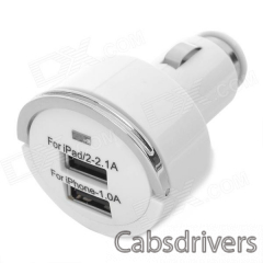 Dual USB Car Cigarette Powered Charger for Ipad / Iphone - White (12~24V) - 0