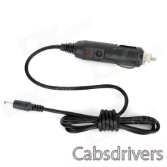 Car Cigarette Powered Charger for GPS Navigator / Tablet + More - Black (12V / 24V / 110cm) - 0