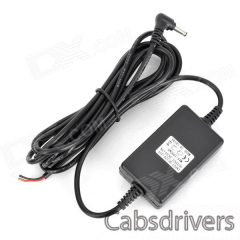 DC 12~24V Input to DC 5V Output Car Power Adapter Charger - Black (300cm-Cable / 12~24V) - 0