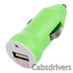 E8-CC Stylish Car Cigarette Powered Charging Adapter Charger w/ USB Output - Green - 0