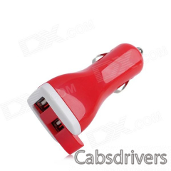 Dual USB Car Cigarette Powered Charger for Ipod + Iphone + Ipad - Red (12~24V) - 0