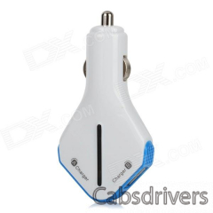 Riveman TY-D02-LANSE Universal Dual USB Car Charger - White + Blue - 0