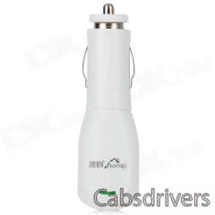 Riveman Car Cigarette Powered Charging Adapter Charger w/ USB Output for Cell Phone - White - 0