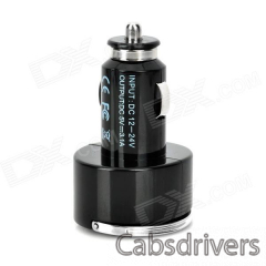 Compact Dual USB Output Car Charger w/ Flip-out Pull Ring for Iphone / Ipad / Ipod + More - Black - 0