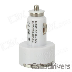 Compact Dual USB Output Car Charger w/ Flip-out Pull Ring for Iphone / Ipad / Ipod + More - White - 0