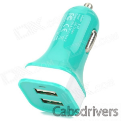 MOMAX Convenient Universal Dual Female USB Output Car Charger for Cellphone - Green - 0