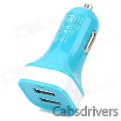 MOMAX Convenient Universal Dual Female USB Output Car Charger for Cellphone - Blue - 0