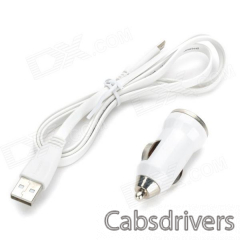 Car Cigarette Lighter Power Adapter + USB Male to Micro USB Male Data Charging Cable - White - 0