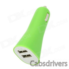 Compact Dual USB Car Charger for Iphone / Ipod / Ipad / Cellphone / Tablets + More - Green - 0