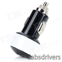 Car Cigarette Lighter Charger for Iphone - Black + White (12~24V) - 0