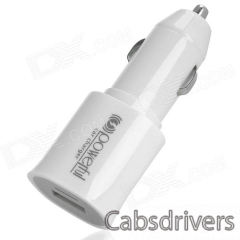 USB Car Cigarette Power Adapter Charger for Iphone / Samsung i9500 - White (DC 12~24V) - 0