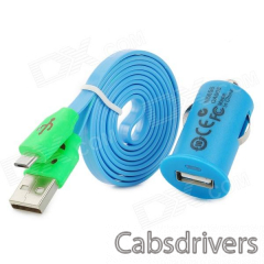 Car Charger + USB to Micro USB Data Cable w/ Smiley Face Indicator Light for Samsung i9500 - Blue - 0