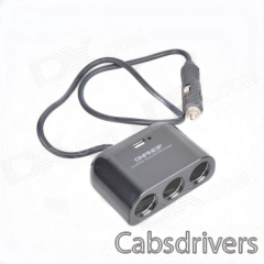 SD006 1-3 Car Cigarette Sockets Power Charger Adapter w/ USB Port - Black (12~24V) - 0