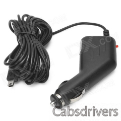 Car Cigarette Powered Charging Aadapter Charger for Car DVR - Black (4M) - 0