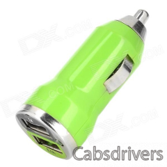 Car Cigarette Powered Charging Adapter w/ Double USB Output for Iphone - Green - 0