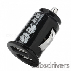 2U-01 Mini Car Cigarette Powered Charging Adapter w/ Double USB Output - Black - 0