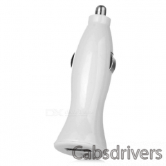 1A Car Cigarette Powered Charging Adapter Charger w/ USB Output for Iphone / Ipad / Samsung - White - 0