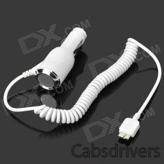 Car Cigarette Powered Charging Adapter Charger w/ Micro USB Coiled Cable for Samsung Note3 - White - 0