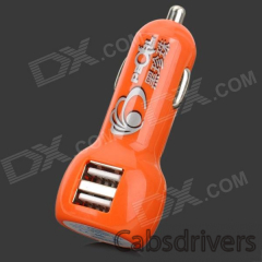 Car Cigarette Powered Charging Adapter Charger w/ Dual USB Output - Orange - 0