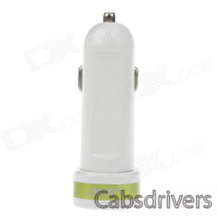 LDNIO DL-C21 Dual-USB Smart Car Cigarette Powered Charger - White + Green (12~24V) - 0