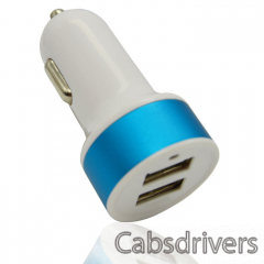 DC501 Dual-USB Car Cigarette Lighter Power Adapter - White + Blue (12~18V) - 0
