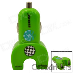 STAR GO ST-10 Dual USB Car Cigarette Lighter Adapter Charger for iPhone + More - Green (12~24V) - 0
