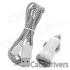 Car Charger + Weave Micro USB Cable for Samsung Galaxy S4 / Note 2 / S3 - White + Black (DC 12~24V) - 0