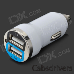Bullet Shaped Dual USB Car Cigarette Lighter Adapter Charger - White (12~24V / 1A / 2.1A) - 0