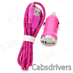 Car Charger + Weave Micro USB Male to USB 2.0 Charging Cable for Samsung - Deep Pink (DC 12~24V) - 0
