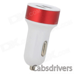 2A Dual USB Car Cigarette Lighter Charger - White + Red + Multi-Colored - 0