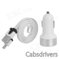 USB to Micro USB Charging/Data Cable + 3.1A Dual USB Car Cigarette Lighter for Samsung / HTC (100cm) - 0