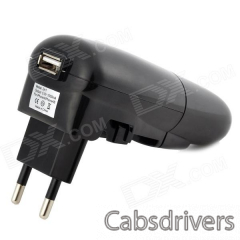5V 1A USB Car Charger + EU Plug Power Adapter w/ Indicator - Black (AC 100~240V) - 0