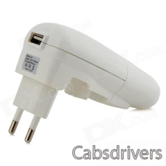 5V 1A USB Car Charger + EU Plug Power Adapter w/ Indicator - White (AC 100~240V) - 0