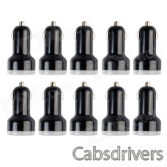 Professional 5V 2.1 / 1A Dual USB Car Charger Adapter for IPAD and Others - Black (10 PCS) - 0