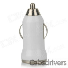 5V 1A USB Car Cigarette Lighter Charger w/ Charging Cable for Samsung Galaxy S3 / S4 + More - White - 0