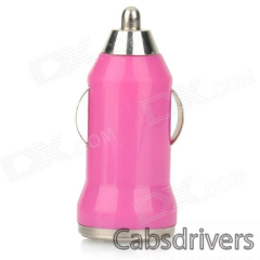 5V 1A USB Car Cigarette Lighter Charger w/ Charging Cable for Samsung Galaxy Note 3 / S5 - Deep Pink - 0