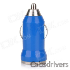 5V 1A USB Car Cigarette Lighter Charger w/ Charging Cable for Samsung Galaxy Note 3 / S5 - Blue - 0