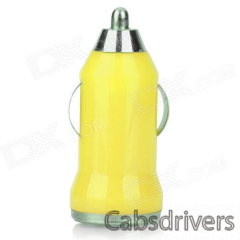 5V 1A USB Car Cigarette Lighter Charger w/ Charging Cable for Samsung Galaxy Note 3 / S5 - Yellow - 0