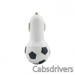 A-M8 Portable Football Style 2.1A USB Car Lighter Charger - Black + White (12~24V) - 0