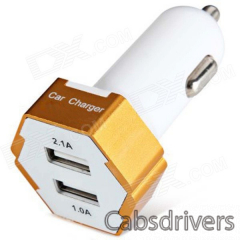 ES-04 Compact Universal 5V 1A/2.1A Dual USB Output Car Charger for IPHONE / Cellphone - Golden - 0